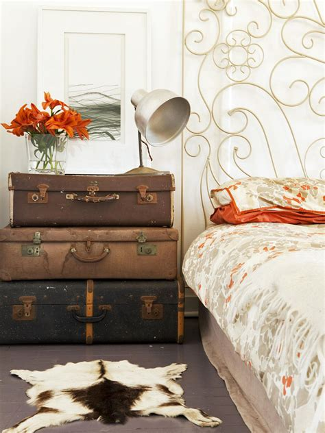 Suitcase Nightstand by Eclectic Bedroom With Suitcase Nightstand And Hide Rug Hgtv