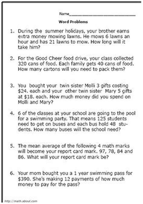 Test Your Fifthgrader With These Math Word Problem Worksheets  Math  Math Word Problems, Math