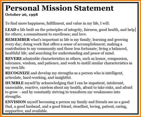 Mission Statement Template Personal Mission Statement Template Templates Data