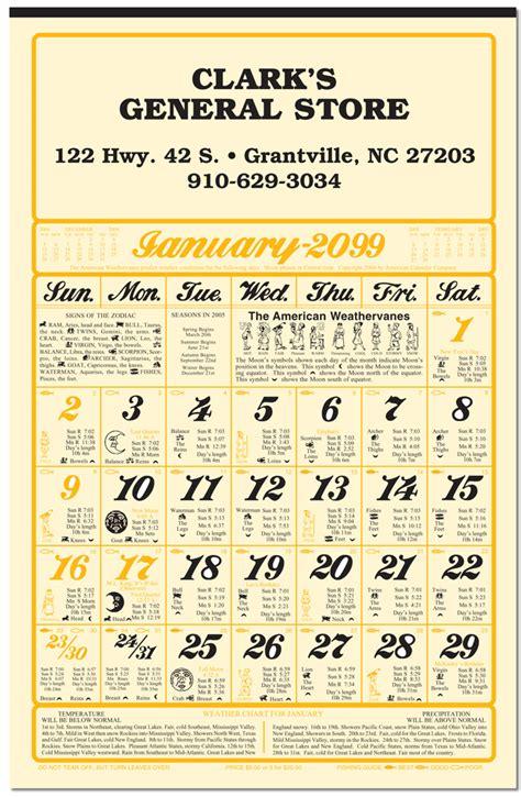weatherbird almanac calendar calendar company