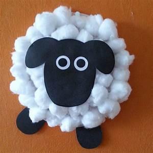 Cotton ball sheep craft vbs barnyard 2017 pinterest for Cardboard sheep template