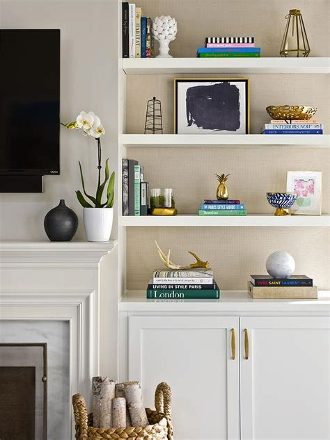 Decorating Bookshelves In Living Room by Built In Shelves Flanking Television Design Ideas