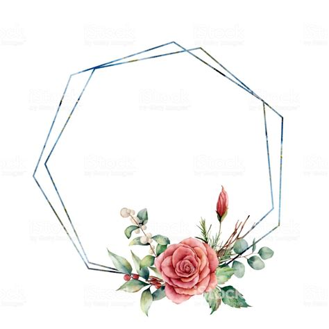watercolor hexagonal frame  floral bouquet hand drawn