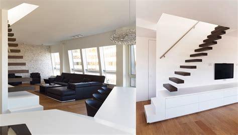 bureau roche bobois zwevende trap in living modern en functioneel