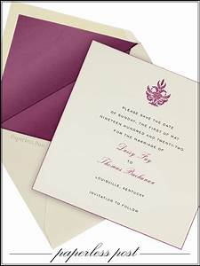 cream and purple paperless post wedding invitation set With paperless destination wedding invitations
