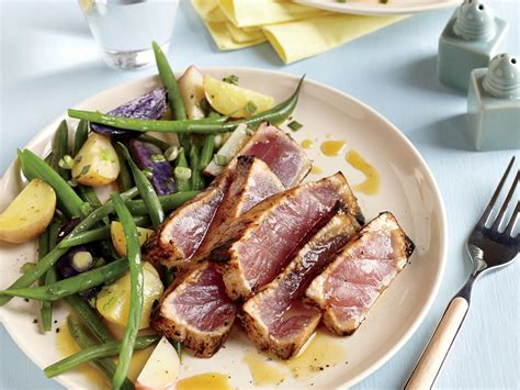 tuna steak recipes maple and mustard seared tuna steaks recipe myrecipes