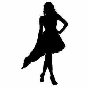 Frau Silhouette Sexy Dress Wandtattoo