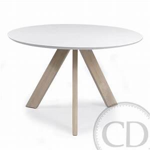 Table Cuisine Blanche : table de cuisine ronde blanche scandinave sur cdc design ~ Teatrodelosmanantiales.com Idées de Décoration