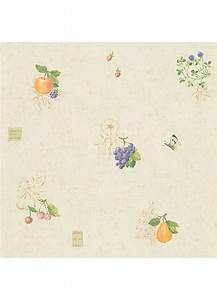 Papier Peint Cuisine QuotFruits Et Papillonsquot Jaune