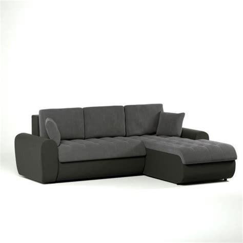 canapé noir et gris cloe canapé convertible lit angle droit 4 places gris noir