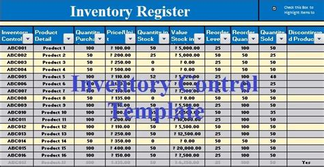 inventory control excel template invoice