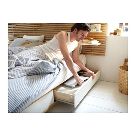mandal bed frame with headboard birch white 140x202 cm ikea