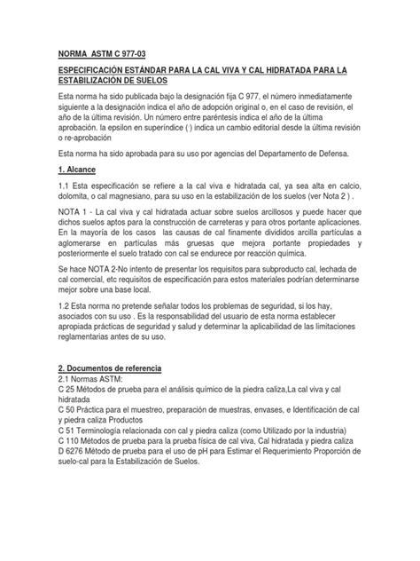 NORMA ASTM CAL VIVA E HIDRATADA.docx | Suelo | Agua