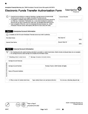 electronic funds transfer authorization form fill