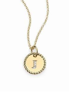 david yurman 18k gold initial pendant necklacej in gold lyst With david yurman letter pendant
