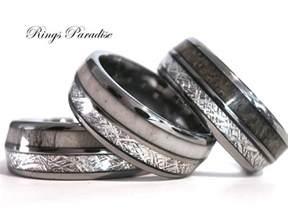 meteorite mens wedding ring antler elk wedding band meteorite inlay tungsten ring engagement rings mens tungsten band