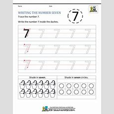 Kindergarten Printable Worksheets  Writing Numbers To 10