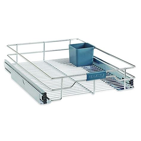 bed bath and beyond cabinet organizer real simple sliding under cabinet organizer in chrome