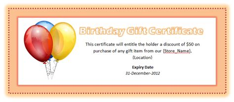 birthday voucher template  word templates