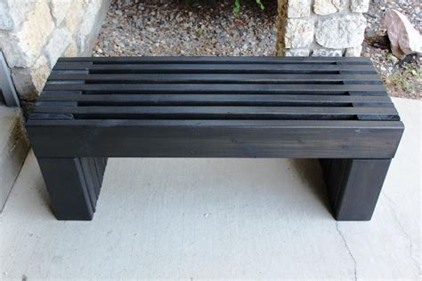 modern slat top outdoor wood bench    home