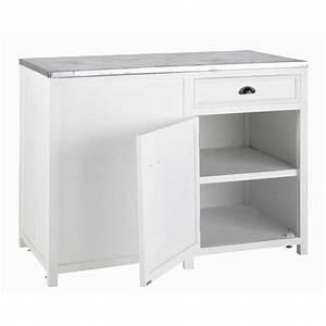 Meuble bas de cuisine ouverture gauche en pin blanc l 120 for Lovely meuble de cuisine maison du monde 1 cuisine bois metal cuisine interieure