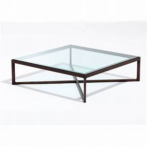 Metropolitan square glass coffee table square glass for Large round glass top coffee table