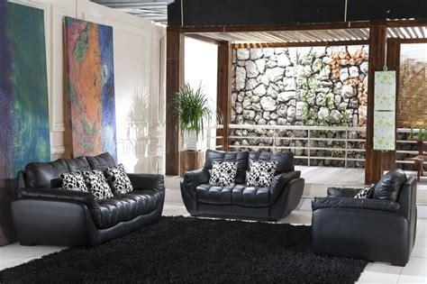 black full italian leather contemporary pc living room set