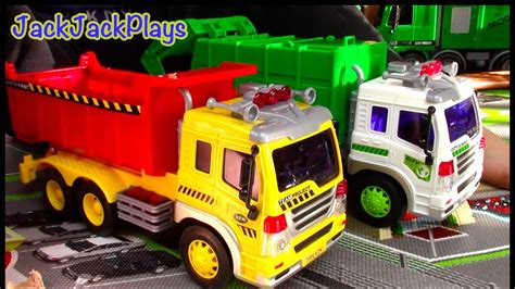 garbage truck dump truck toys  children toy unboxing playing jackjackplays youtube