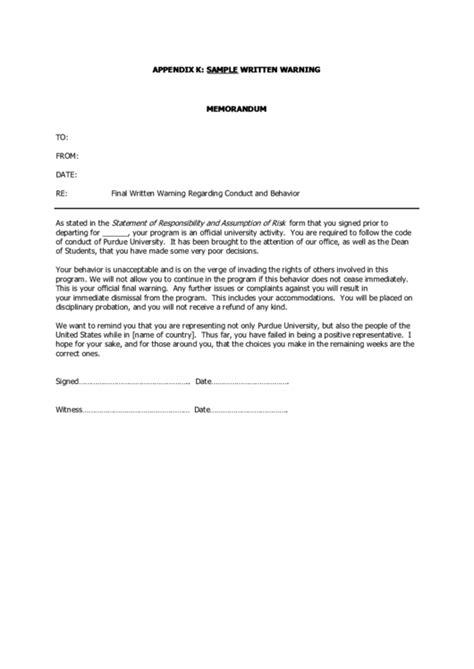 employee warning form templates