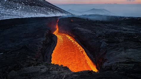 mountains landscapes snow volcanoes lava russia magma