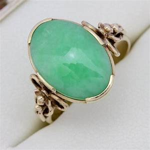 Beautiful vintage 18ct yellow gold jade 500 carat for Jade wedding ring
