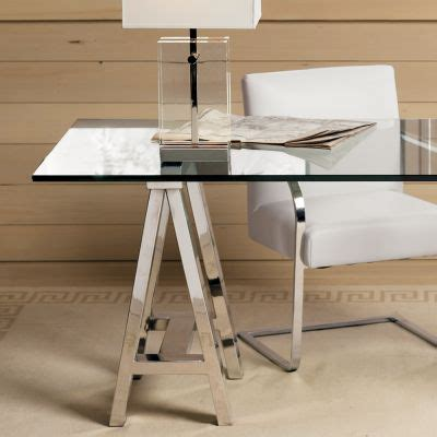 glass top trestle desk furniture fashionthe mason trestle table desk from williams sonoma