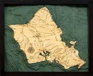 West Grand Traverse Bay Depth Chart 3d Island Of Oahu Nautical Wood Map Depth Chart