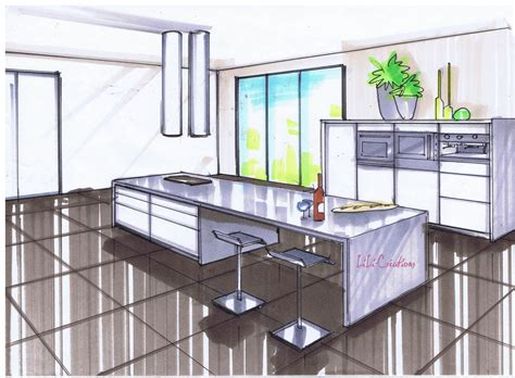 perspective cuisine dessin le de elise fossoux décoration architecture d