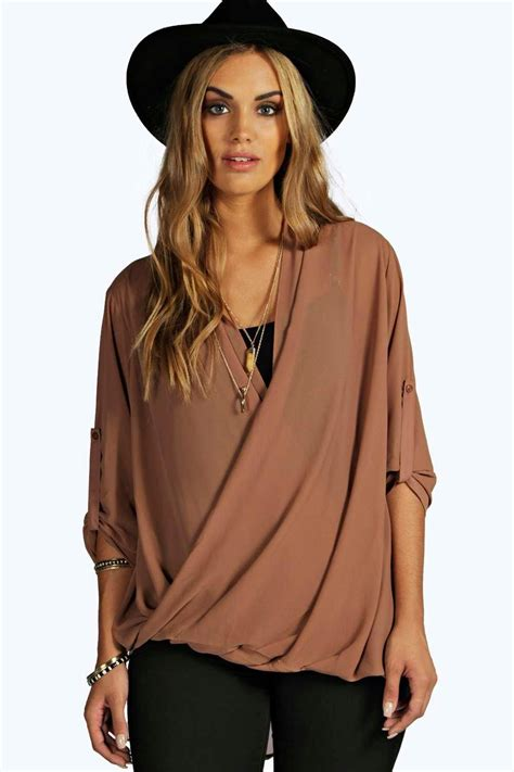 wrap front blouse boohoo womens abigail woven wrap front blouse
