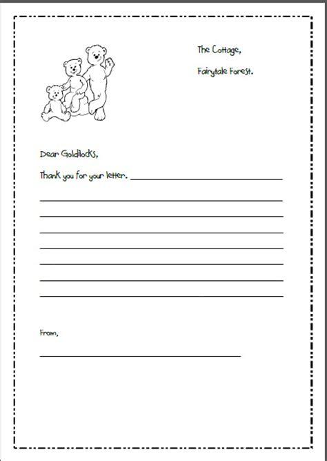 letter writing template  goldilocks    bears