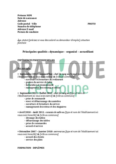 chef de rang en restauration exemple cv chef de rang cv anonyme