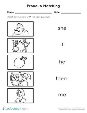 pronoun matching assessment pronoun worksheets reading