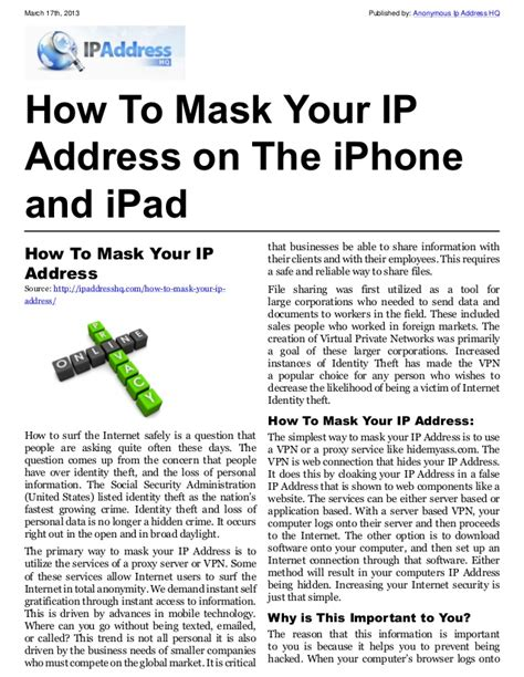 how to find ip address on iphone how to mask your ip address on the iphone and