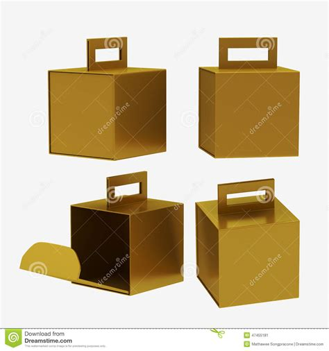 gold paper carton box  handle clipping path included