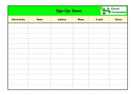 sign up sheet photo gallery on website sign up sheet