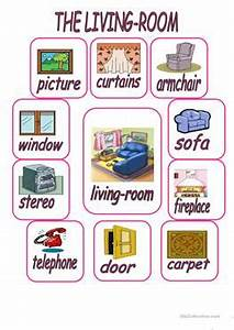 27 free esl home worksheets for elementary a1 level With furniture in the living room worksheet
