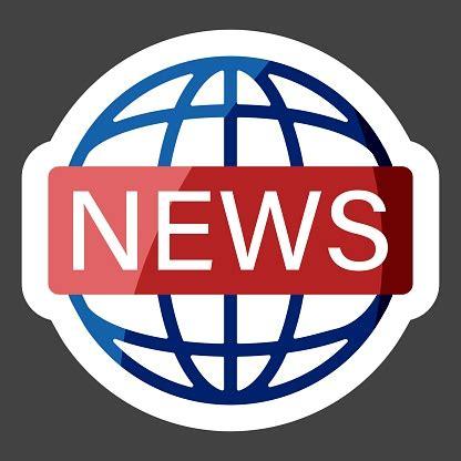 Vector Icon World News Colored Sticker Image Inscription ...