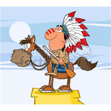 indian chief  gun  horse royalty  rf