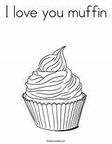 Coloring Muffin Template Outline Cupcake Tracing Templates Twistynoodle Whimsical sketch template