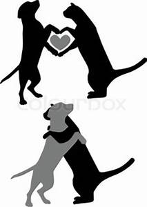 Cat and dog silhouettes, hugging with a heart symbol ...
