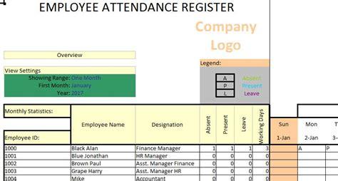 employee attendance tracker ms excel template