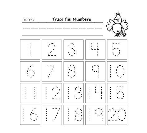 numbers 1 20 worksheets for preschoolers trace numbers 1 20 kiddo shelter 362
