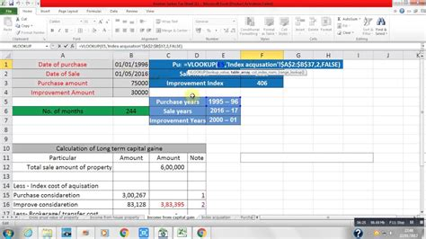 how to calculate income from capital gain by using excel formula datedif new formula youtube