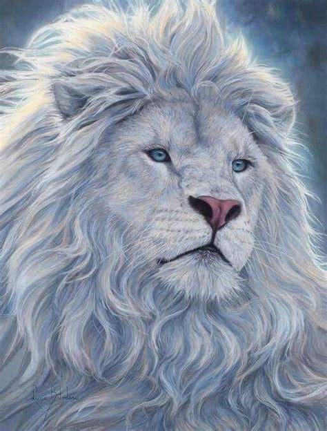 white lion pintura de leao arte sobre animais